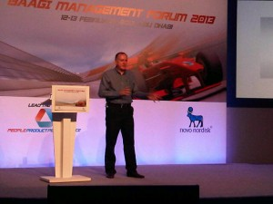 Internationally renowned F1 business expert, Mark Gallagher, speaking at the Novo Nordisk 2013 BAAGI meeting on Yas Island. April 2013